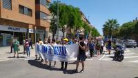La capçalera de la manifestació, aquest dissabte al Prat de Llobregat