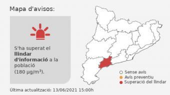 A la zona del Camp de Tarragona s'havia superat el llindar d'alerta per ozó
