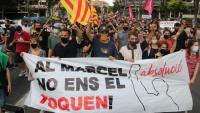 Vista de la capçalera de la manifestació de suport a Vivet, aquest dimecres a Badalona