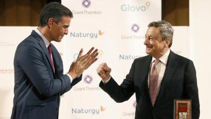 El president del govern espanyol, Pedro Sánchez, i el seu homòleg italià, Mario Draghi, aquest divendres a Barcelona