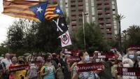 Protesta organitzada per l'ANC contra la presència del rei, dimecres passat a Barcelona