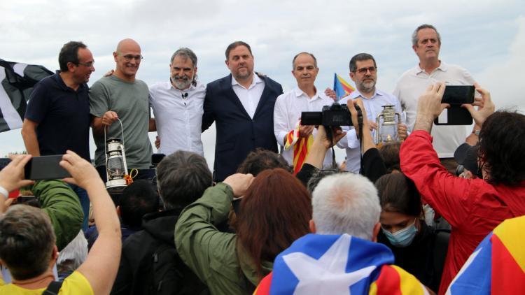 Els set presos polítics de Lledoners, en llibertat