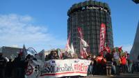 Manifestació contra l'ERO  a Caixabank, el passat maig a Barcelona