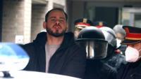 El raper Pablo Hasel, en el moment de la seva detenció pels Mossos d'Esquadra al Rectorat de la UdL, el passat16 de febrer