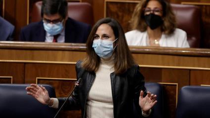 La ministra de Drets Socials i líder de Podem, Ione Belarra, dimecres al Congrés