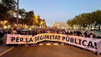 La capçalera de la manifestació, al seu pas pel Pla de Palau