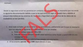 Imatge d'una carta enviada pels estafadors