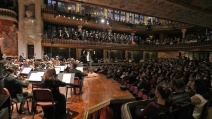 Vista del Palau de la Música, durant el concert en record de Pau Casals