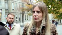 La consellera d'Acció Exterior, Victòria Alsina, en una atenció als mitjans a Ginebra