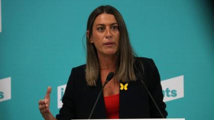 La diputada de JxCat Míriam Nogueras, en una roda de premsa aquest dijous a la seu de Junts