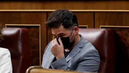 El portaveu d'ERC al Congrés, durant un plenari recent