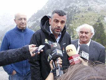 El conseller Santi Vila, durant la roda de premsa a Vallter Xavier Bardolet