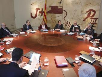 Un moment de la reunió del govern d'ahir