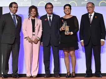 Responsables de La Granja amb Artur Mas i el president de Pimec