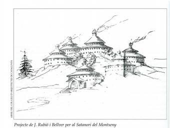 Joan Rubió i Bellver va fer un disseny del sanatori amb un pavelló central i altres de més petits per situar els malalts segons la seva gravetat Monografies del Montseny