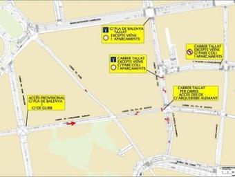Dibuix que indica el tall de trànsit Ajuntament de Vic