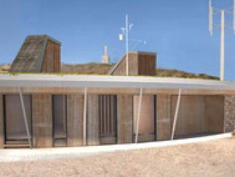 Vista exterior del projecte del Centre de Referència de la Meteorologia que el Servei Meteorològic de Catalunya pretén construir al cim del Turó