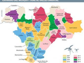 Mapa amb la disribució del mosquit tigre al Vallès Oriental per anys Xevi Freixa