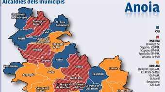 Mapa de les alcaldies dels municipis