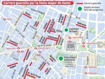 Mapa de carrers guarnits de la festa major de Sants