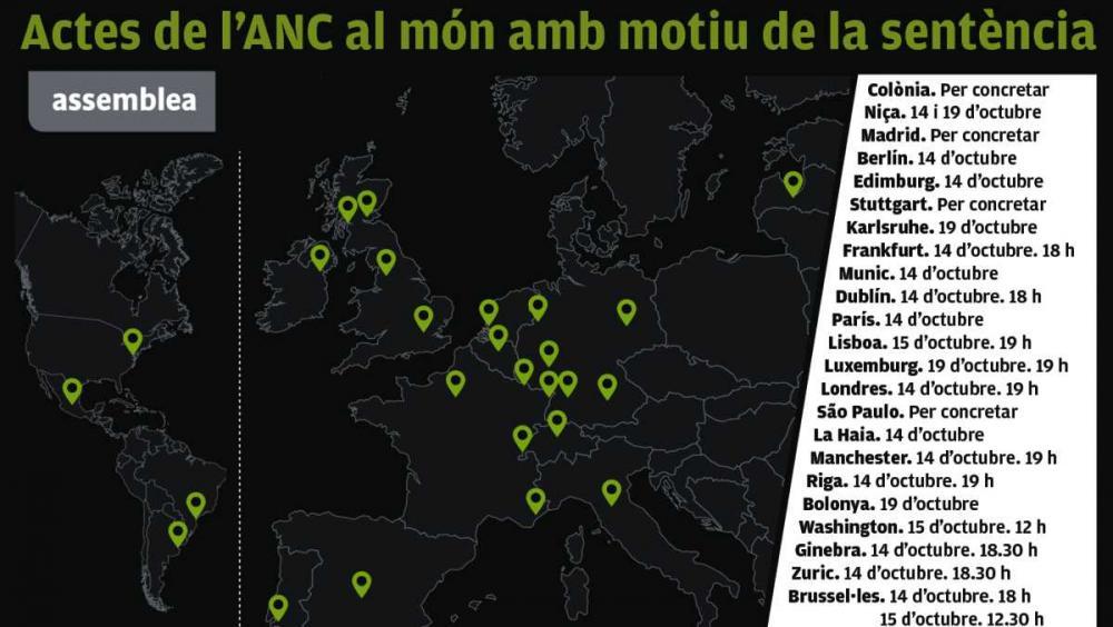 Trenta actes de l'ANC a l'estranger per denunciar la vulneració de drets