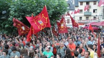 Manifestació a Vielha en defensa de l'autogovern aranès, el 2007. ARXIU