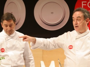 Els germans Jordi i Joan Roca, i Ferran Adrià al Fòrum Gastronòmic Girona'2007.