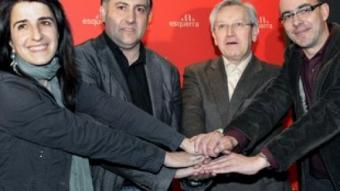 Puigcercós, Zabaleta i el dirigent d'ERC Eduard López. /  EFE