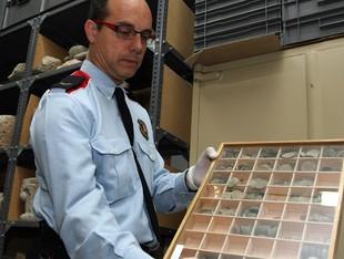 Un agent mostra algunes de les peces confiscades, al magatzem del MAC.  ORIOL DURAN
