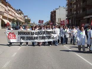 Un moment de la manifestació dels treballadors de l'empresa EGO de Solsona, a finals del mes de març.