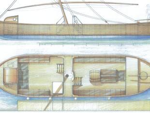 Una imatge del disseny del llagut turístic que navegarà pel tram central de l'Ebre català.  EL PUNT