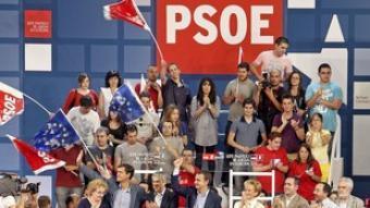Míting del PSOE a València amb López Aguilar, Zapatero, Sócrates i Fernández de la Vega. EFE