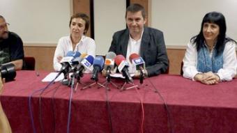 Arnaldo Otegi, ahir, en la compareixença per anunciar el suport a II. /  EFE