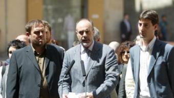 Al Fossar de les Moreres, Junqueras, Ridao i alcalde de Caldes de Montbuí, Jordi Soler. /  A.P