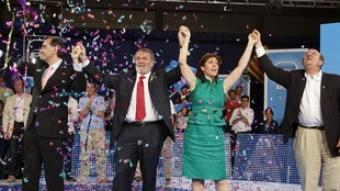 Vidal-Quadras, Mayor Oreja i Camacho, ahir. /  EFE