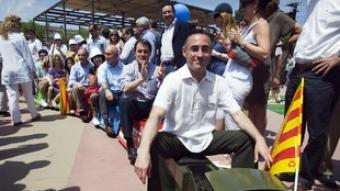 Ramon Tremosa, Artur Mas, Josep Antoni Duran i Lleida i Josu Erkoreka, en un trenet símbol del que defensa CiU per al corredor mediterrani.  GABRIEL MASSANA