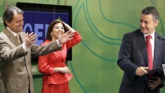 Tremosa, Mas, Bilbao i Urkullu, ahir a Bilbao en un acte per a les eleccions europees. /  EFE
