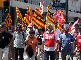 Els delegats sindicals d'Ercros es van manifestar ahir a Barcelona.  ACN