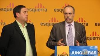 Junqueras i Ridao, ahir a la seu d'Esquerra. /  ACN / J. P. B