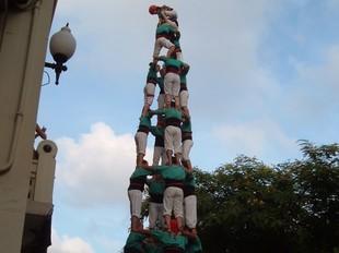 Tres i quatre de nou amb folre dels Castellers de Vilafranca a Ribes, i quatre de vuit dels Xiquets de Tarragona. /  F. GALAN / R. LLAGOSTERA/ MITXI