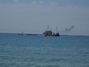 Les barques dels pescadors encerclen el vaixell draga ahir al matí a Arenys de Mar. RÀDIO ARENYS