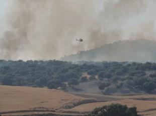 Mitjans aeris lluitant contra el foc d'Oliola, aquesta tarda.  DAVID MARÍN