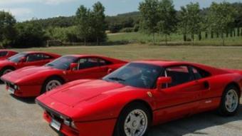 Tres dels Ferrari GTO presents en la celebració del 25è aniversari d'aquest model. FERRARI CLUB ESPAÑA