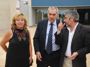 Farràs, Maragall i Blanco, ahir, a les obres del nou CEIP.