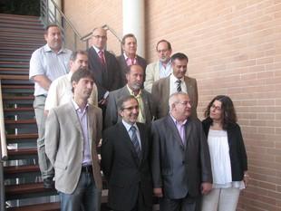 Alguns dels representants del Consorci Teledigital de la Demarcació de Granollers, dimarts a Canovelles.