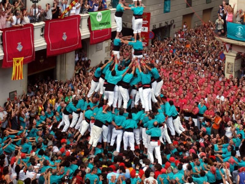 Darrer tres de deu dels Castellers de Vilafranca, l'any 2006