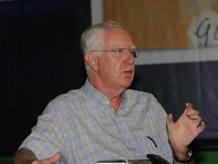 El rector de la UCE, Jaume Sobrequés, ahir a Prada /  UCE