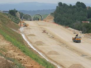 Les obres, el juliol de 2008 a l'alçada dels falsos túnels