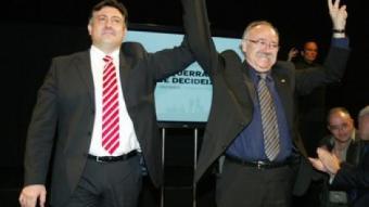 Puigcercós i Carod-Rovira, a l'abril, quan el segon va renunciar a ser candidat.  GABRIEL MASSANA