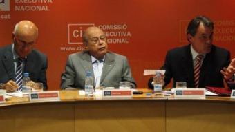 Duran, Pujol i Mas, en un moment de la Comissió Executiva Nacional de CiU.  ACN / X. ALSINET